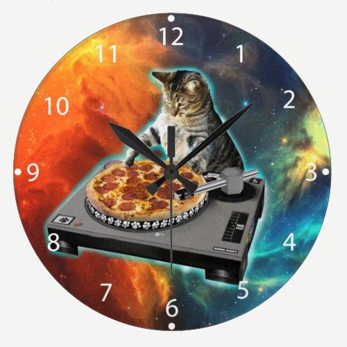 Cat dj with disc jockey's sound table large clock