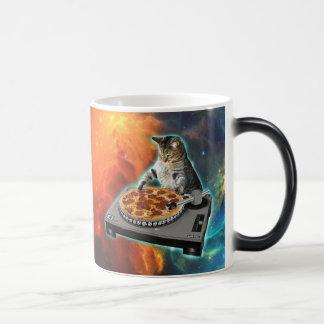 Cat dj with disc jockey's sound table magic mug