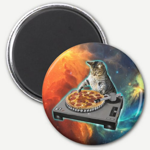 Cat dj with disc jockey's sound table magnet