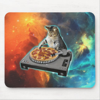 Cat dj with disc jockey's sound table mouse pad