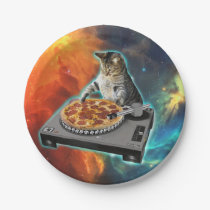 Cat dj with disc jockey's sound table paper plate