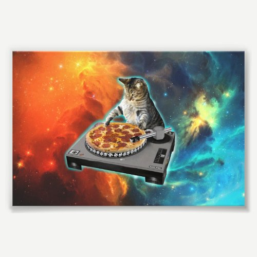 Cat dj with disc jockey's sound table photo print