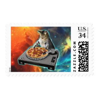 Cat dj with disc jockey's sound table postage