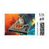 Cat dj with disc jockey's sound table postage