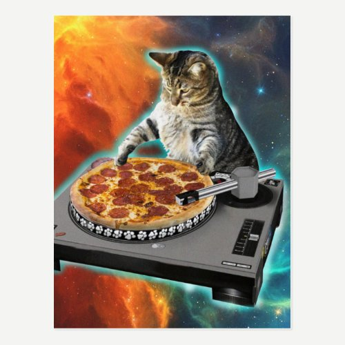 Cat dj with disc jockey's sound table postcard