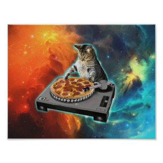 Cat dj with disc jockey's sound table poster