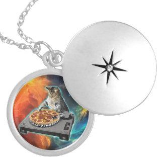 Cat dj with disc jockey's sound table round locket necklace
