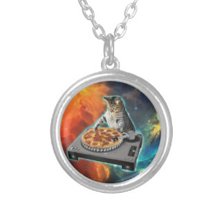 Cat dj with disc jockey's sound table round pendant necklace