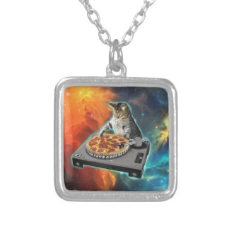 Cat dj with disc jockey's sound table square pendant necklace