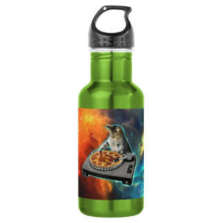 Cat dj with disc jockey's sound table stainless steel water bottle