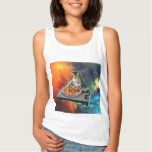 Cat dj with disc jockey's sound table tank top