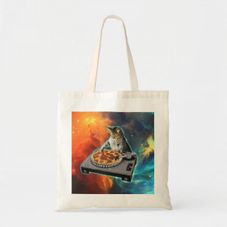 Cat dj with disc jockey's sound table tote bag