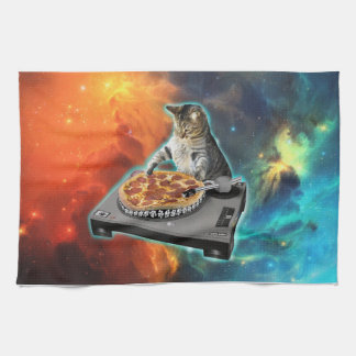 Cat dj with disc jockey's sound table towel