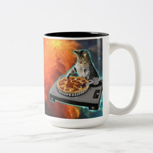 Cat dj with disc jockey's sound table Two-Tone coffee mug