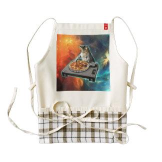 Cat dj with disc jockey's sound table zazzle HEART apron
