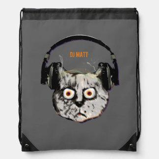 cat dj with headphone drawstring backpack