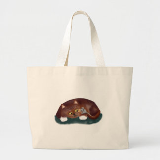 Cat, Do You want a Piece of Popcorn? Large Tote Bag