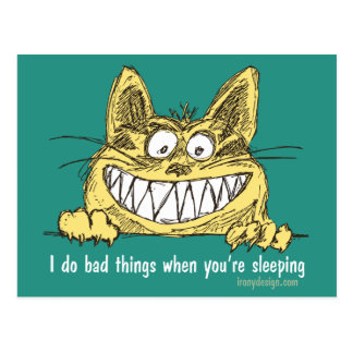 Cat Does Bad Things When You Sleep Postcard