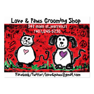 cat & dog/childlike painting/red/black! business card