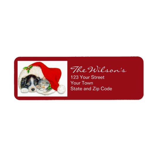 Cat Dog Christmas Holiday Return Address Labels