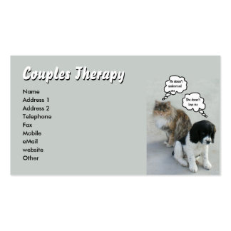 Cat & Dog Couples Therapy Double-Sided Standard Business Cards (Pack Of 100)