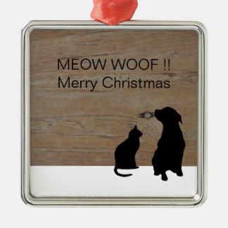 Cat dog illustration silhouettes Christmas Metal Ornament