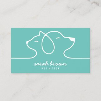 Cat Dog Line Logo Petsitter Green Business Card