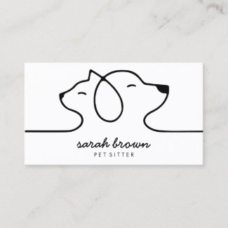 Cat Dog Line Logo Petsitter Petwalker petshop vet Business Card