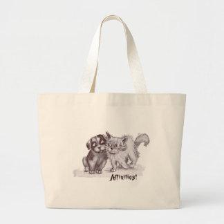 Cat & Dog Rub Shoulders Affectionately Large Tote Bag