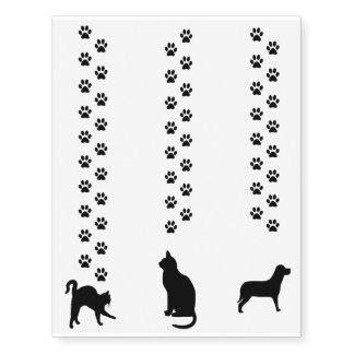 Cat & Dog Silhouette & Paw Prints Temporary Tattoo