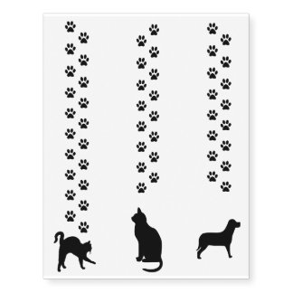 Cat & Dog Silhouette & Paw Prints Temporary Tattoo Temporary Tattoos