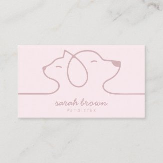 Cat Dog Soft Pink Line Logo Petsitter Business Card