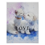 Cat & Dog Watercolor Office Decor Matte Poster