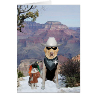 Cat & Dog Western Characters Funny Birthday Card