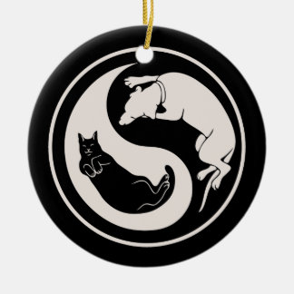 Cat-Dog Yin-Yang Ceramic Ornament
