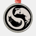 Cat-Dog Yin-Yang Round Metal Christmas Ornament