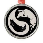 Cat-Dog Yin-Yang Round Metal Christmas Ornament
