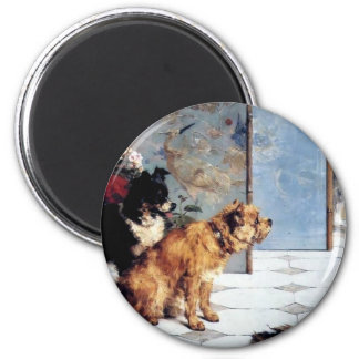 Cat DOGS Playful friends painting relationship 2 Inch Round Magnet