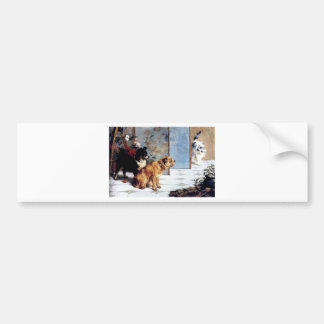 Cat DOGS Playful friends painting relationship Bumper Sticker