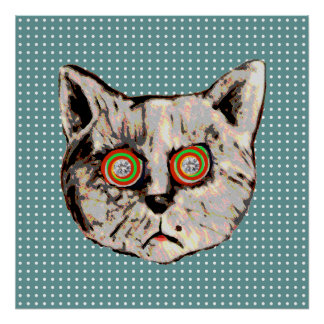 cat , dots and eyes of diamonds poster