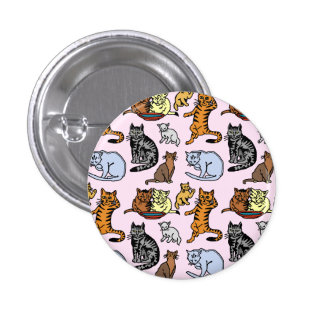 Cat Drawing Cute Vintage Pattern Pins