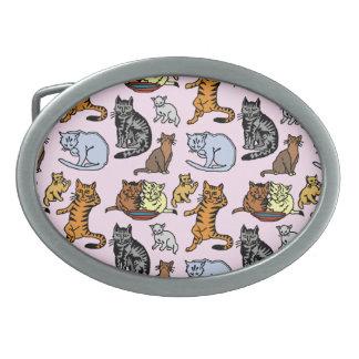 Cat Drawing Cute Vintage Pattern Oval Belt Buckle