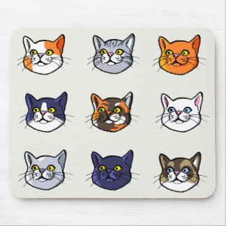 Cat Drawing Nine Different Breeds Mousepad