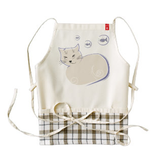 Cat Dreaming of Fishes Illustration Apron