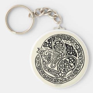 Cat Dreams Celtic Black Ivory Basic Round Button Keychain