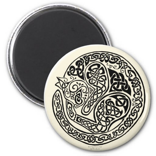 Cat Dreams Celtic Black Ivory Refrigerator Magnet