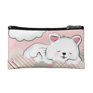 Cat Dreams with textures painted clouds Makeup Bags