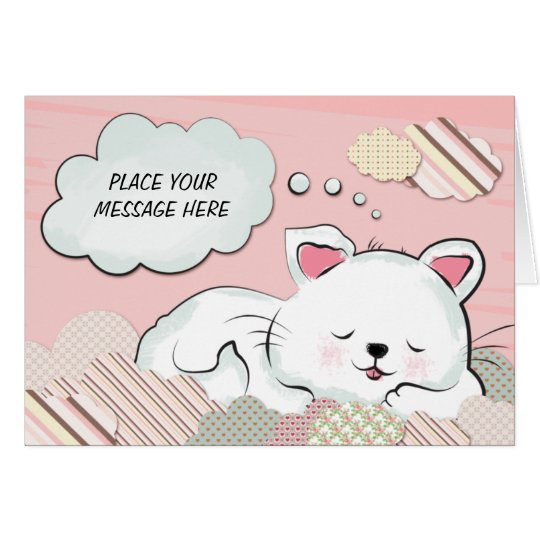 Cat Dreams with textures painted clouds Card