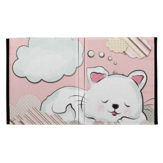 Cat Dreams with textures painted clouds iPad Cases