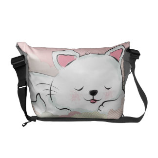 Cat Dreams with textures painted clouds Courier Bag